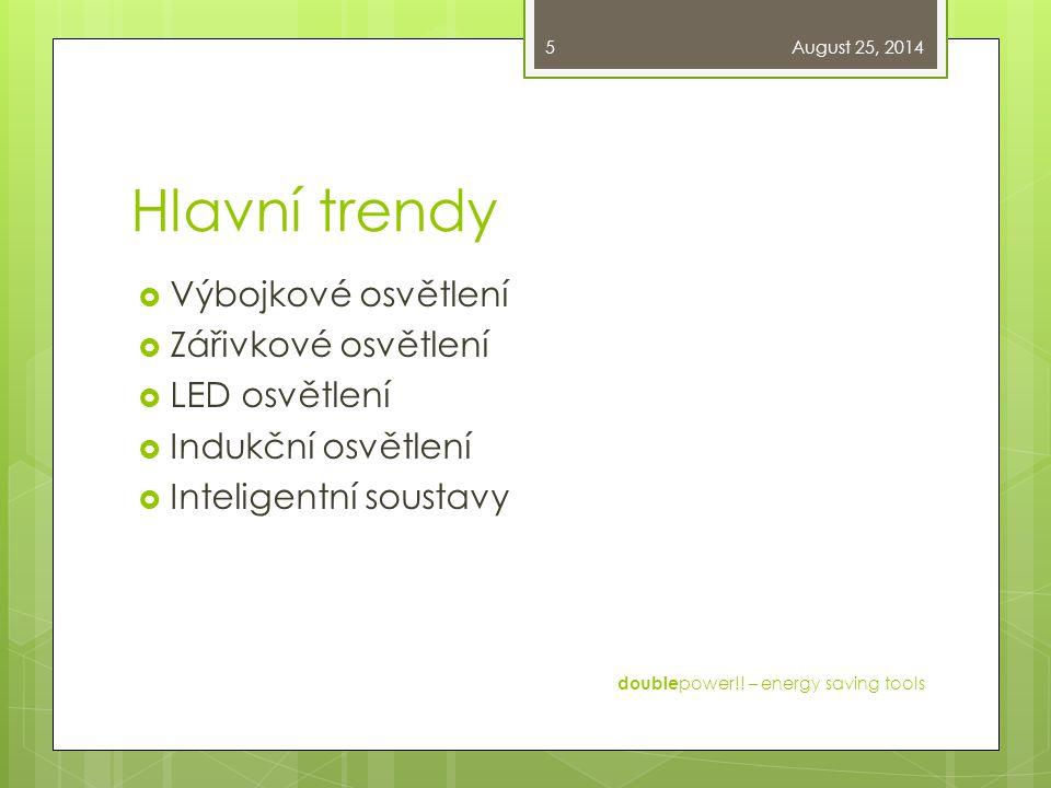 Hlavní trendy  Výbojkové osvětlení  Zářivkové osvětlení  LED osvětlení  Indukční osvětlení  Inteligentní soustavy August 25, 2014 double power!!
