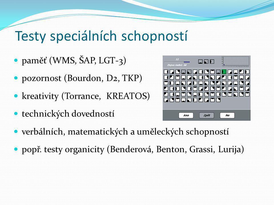 Testy speciálních schopností paměť (WMS, ŠAP, LGT-3) pozornost (Bourdon, D2, TKP) kreativity (Torrance, KREATOS) technických dovedností verbálních, ma