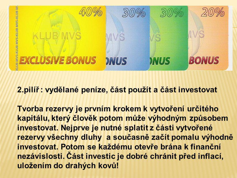 2.pilíř : vydělané peníze, část použít a část investovat Tvorba rezervy je prvním krokem k vytvoření určitého kapitálu, který člověk potom může výhodn
