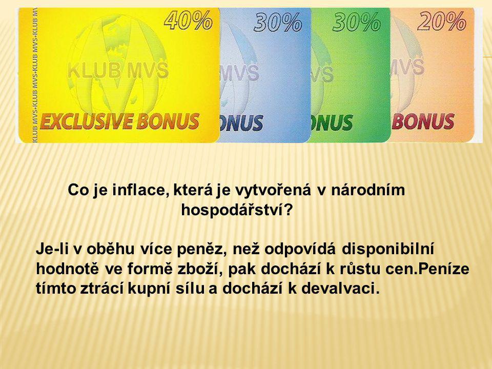 Co je inflace, která je vytvořená v národním hospodářství? Je-li v oběhu více peněz, než odpovídá disponibilní hodnotě ve formě zboží, pak dochází k r