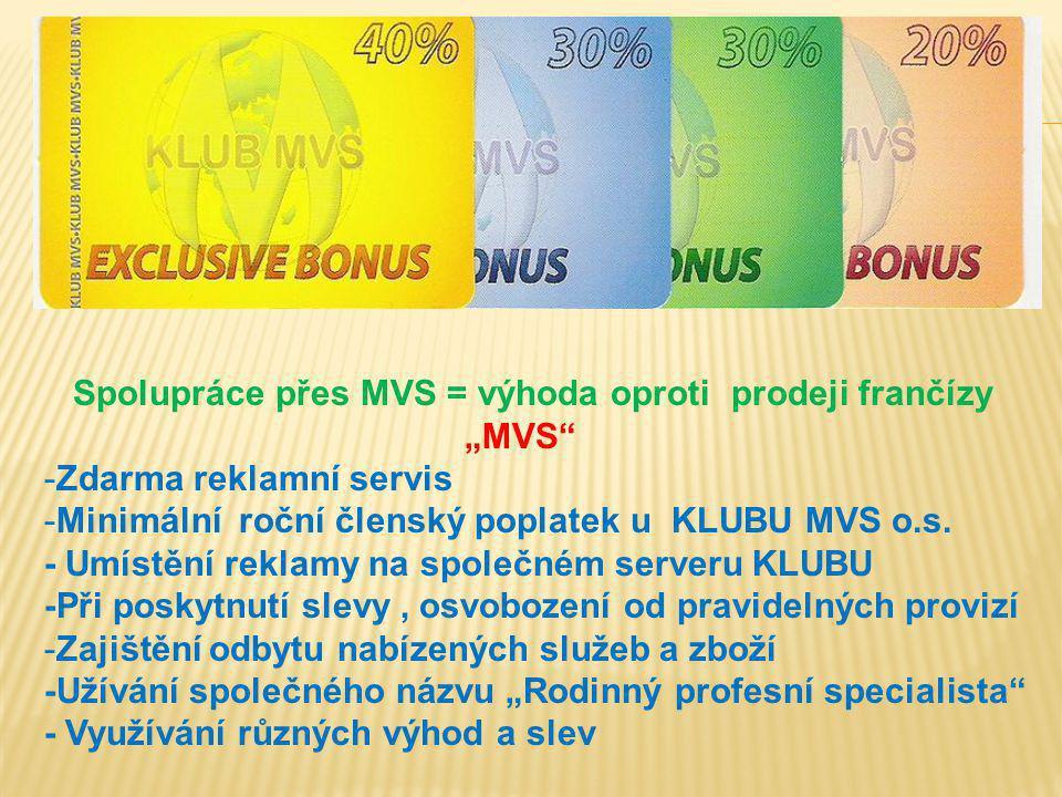 """Spolupráce přes MVS = výhoda oproti prodeji frančízy """"MVS"""" -Zdarma reklamní servis -Minimální roční členský poplatek u KLUBU MVS o.s. - Umístění rekla"""