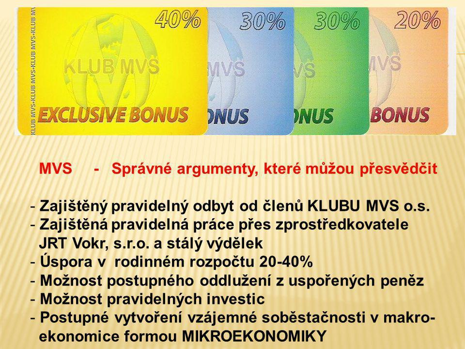 MVS - Správné argumenty, které můžou přesvědčit - Zajištěný pravidelný odbyt od členů KLUBU MVS o.s. - Zajištěná pravidelná práce přes zprostředkovate
