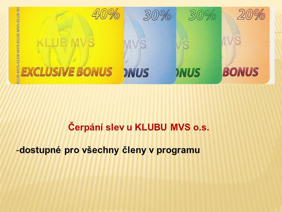 Čerpání slev u KLUBU MVS o.s. -dostupné pro všechny členy v programu