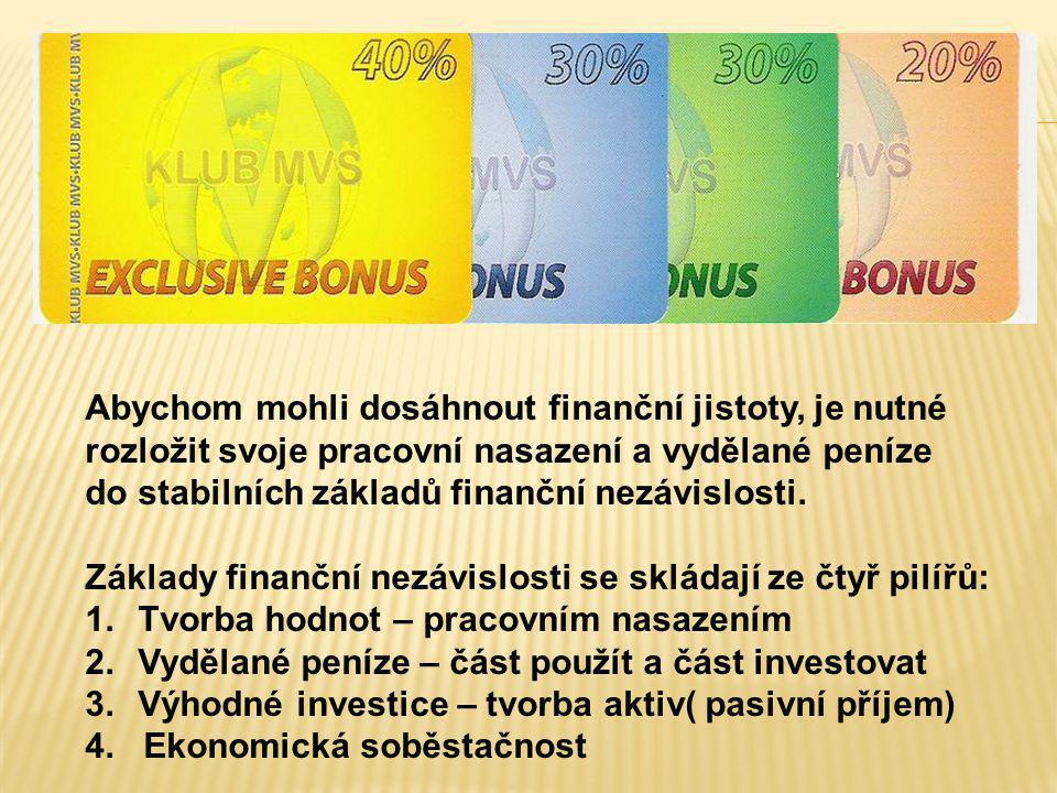 Abychom mohli dosáhnout finanční jistoty, je nutné rozložit svoje pracovní nasazení a vydělané peníze do stabilních základů finanční nezávislosti. Zák