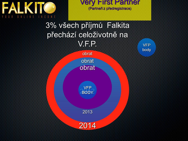Very First Partner (Partneři z předregistrace) 3% všech příjmů Falkita přechází celoživotně na V.F.P.