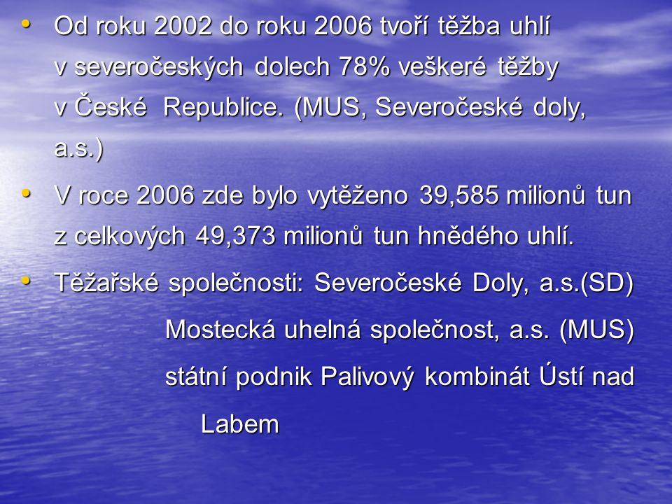 Od roku 2002 do roku 2006 tvoří těžba uhlí v severočeských dolech 78% veškeré těžby v České Republice.