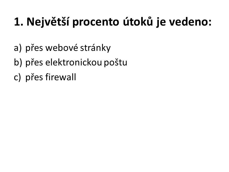 1. Největší procento útoků je vedeno: a)přes webové stránky b)přes elektronickou poštu c)přes firewall