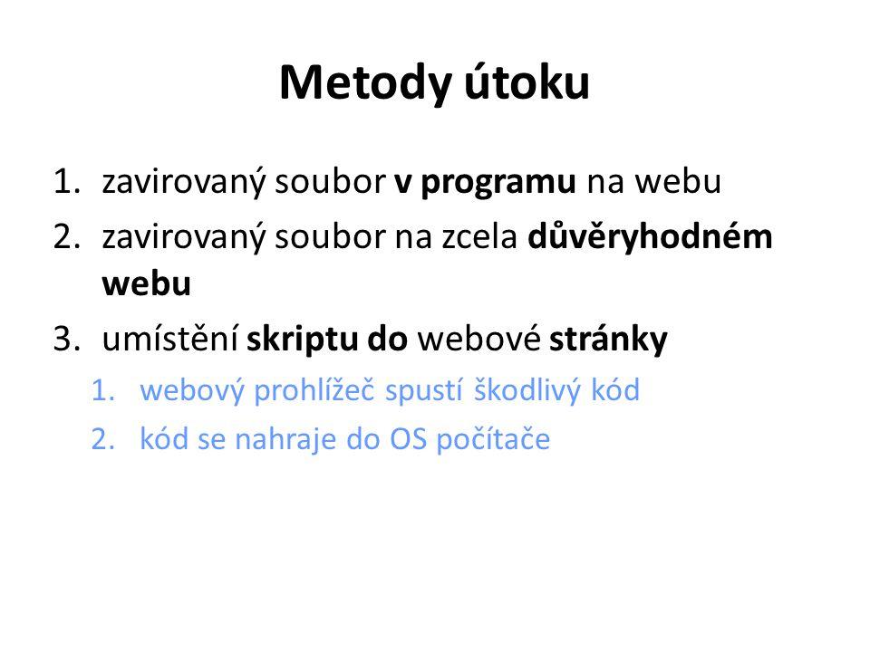 Metody útoku 1.zavirovaný soubor v programu na webu 2.zavirovaný soubor na zcela důvěryhodném webu 3.umístění skriptu do webové stránky 1.webový prohlížeč spustí škodlivý kód 2.kód se nahraje do OS počítače