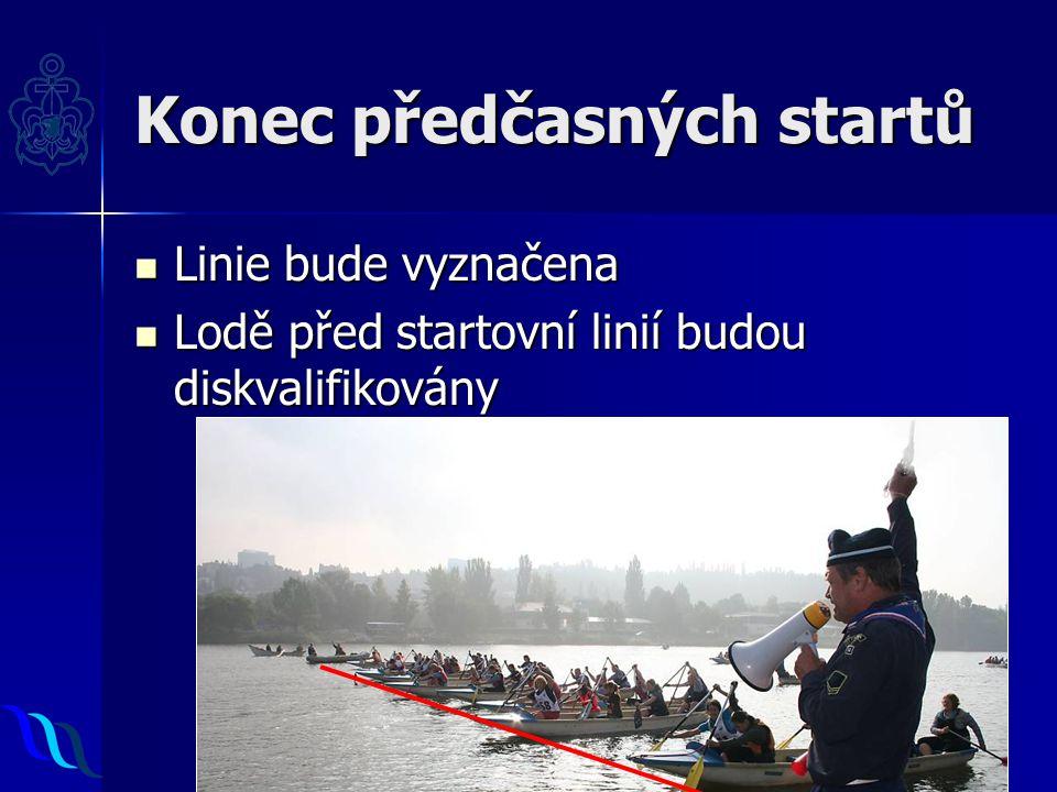 Konec předčasných startů Linie bude vyznačena Linie bude vyznačena Lodě před startovní linií budou diskvalifikovány Lodě před startovní linií budou diskvalifikovány