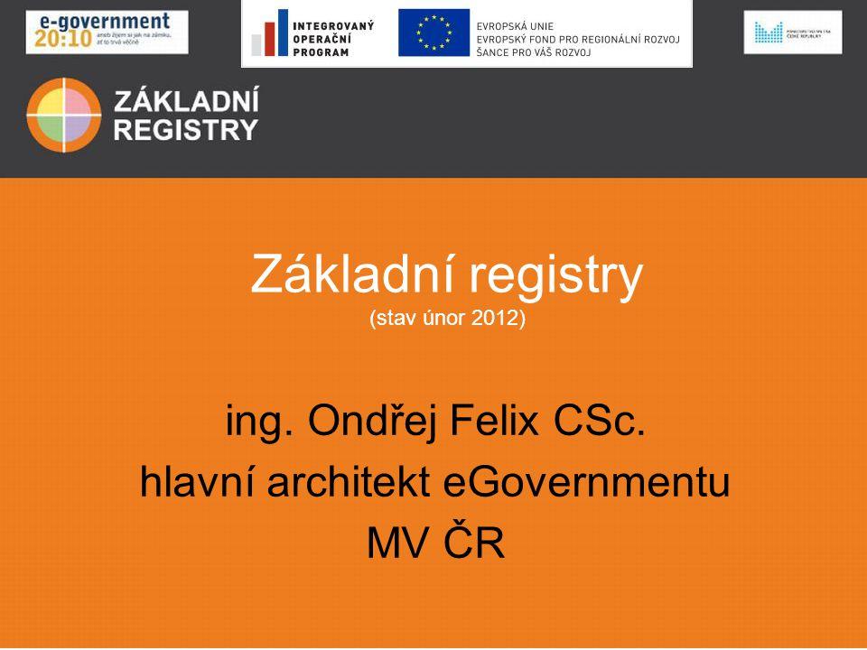 Hlavní milníky Zákon 111/2009 – Registrace agend – Registrace působnosti v agendách – Zahájení provozu ZR 1.7.2012 Vládní nařízení – Přípravu dat v editujících systémech (od data účinnosti – od června 2011) – Připojení editujících systémů a naplnění základních registrů (od Q3 2011) – Připojení klíčových uživatelských systémů a ověření dat v registrech ( od Q4 2011) – Příprava celoplošného nasazení (Q1-Q2 2012)
