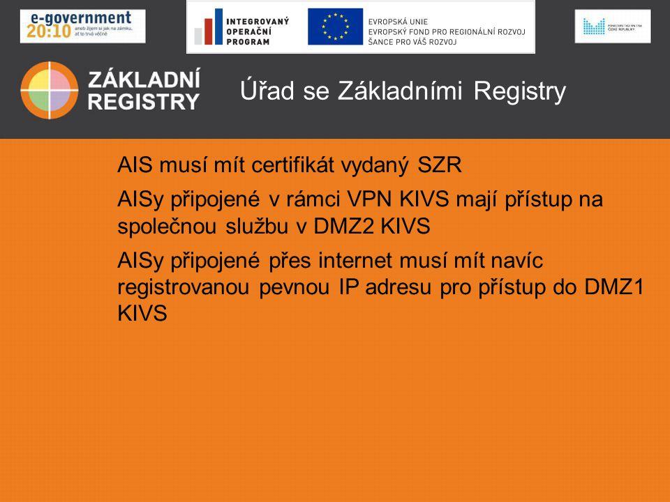 Úřad se Základními Registry AIS musí mít certifikát vydaný SZR AISy připojené v rámci VPN KIVS mají přístup na společnou službu v DMZ2 KIVS AISy připo