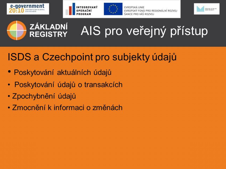 AIS pro veřejný přístup ISDS a Czechpoint pro subjekty údajů Poskytování aktuálních údajů Poskytování údajů o transakcích Zpochybnění údajů Zmocnění k
