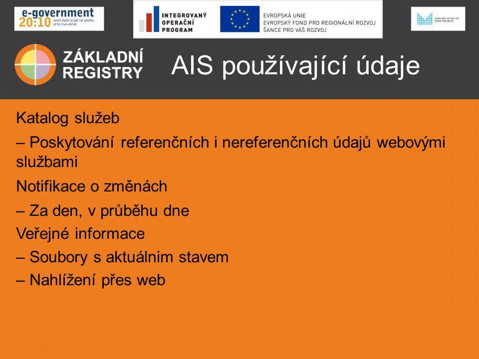 AIS používající údaje Katalog služeb – Poskytování referenčních i nereferenčních údajů webovými službami Notifikace o změnách – Za den, v průběhu dne