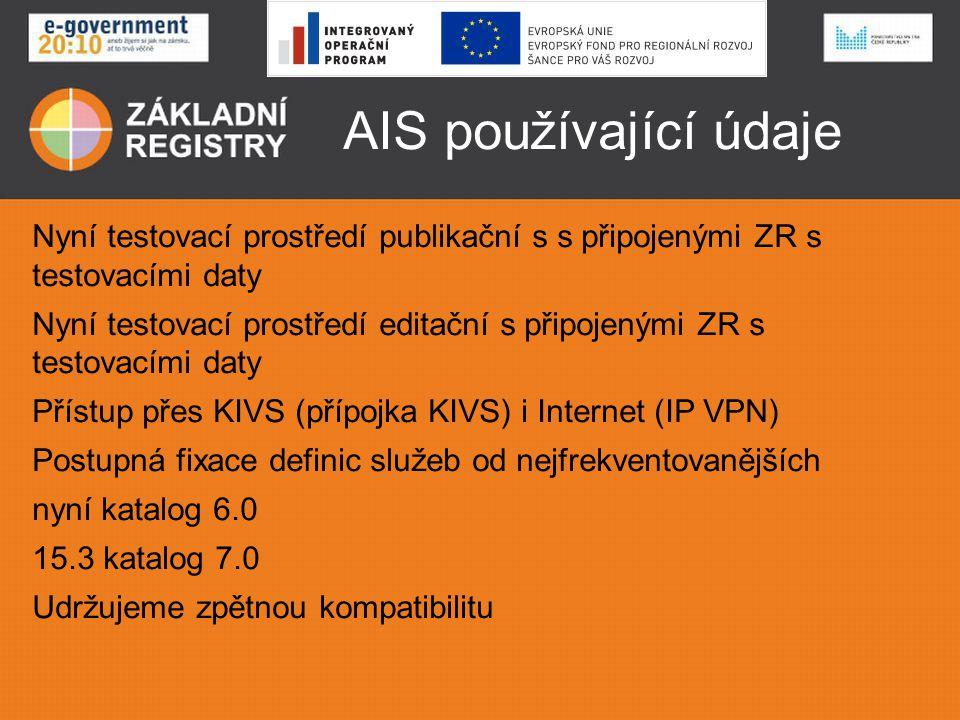 AIS používající údaje Nyní testovací prostředí publikační s s připojenými ZR s testovacími daty Nyní testovací prostředí editační s připojenými ZR s t
