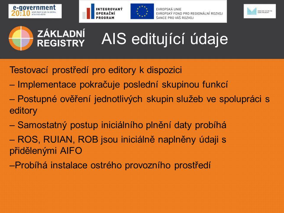 AIS editující údaje Testovací prostředí pro editory k dispozici – Implementace pokračuje poslední skupinou funkcí – Postupné ověření jednotlivých skup