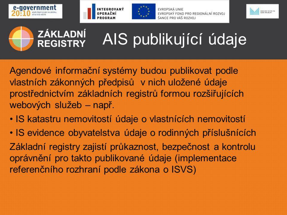 AIS publikující údaje Agendové informační systémy budou publikovat podle vlastních zákonných předpisů v nich uložené údaje prostřednictvím základních