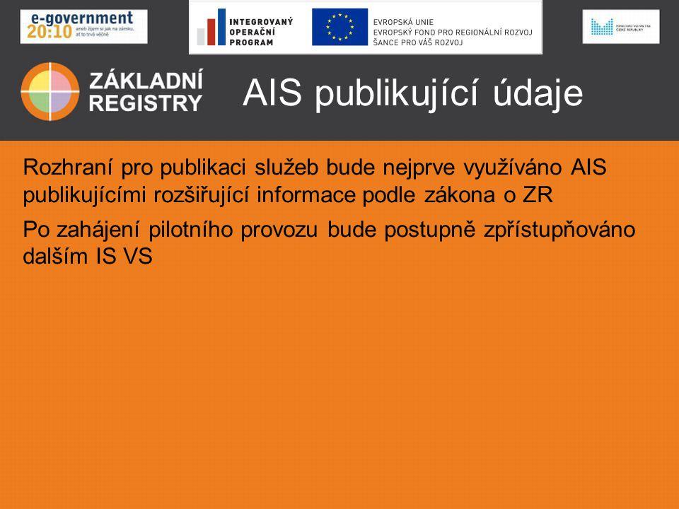 AIS publikující údaje Rozhraní pro publikaci služeb bude nejprve využíváno AIS publikujícími rozšiřující informace podle zákona o ZR Po zahájení pilot