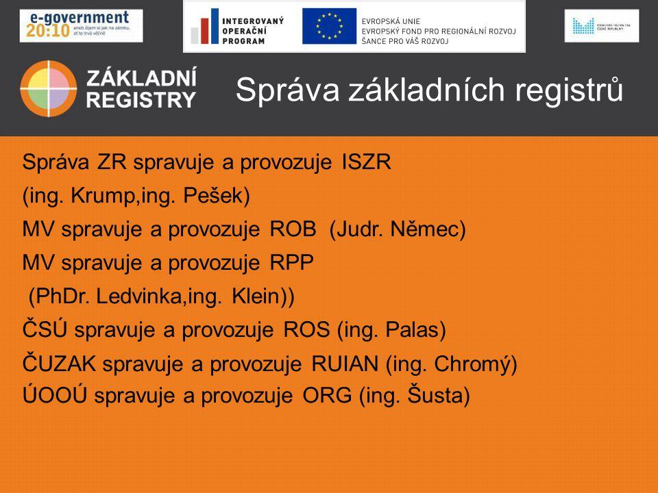 Správa základních registrů Správa ZR spravuje a provozuje ISZR (ing. Krump,ing. Pešek) MV spravuje a provozuje ROB (Judr. Němec) MV spravuje a provozu