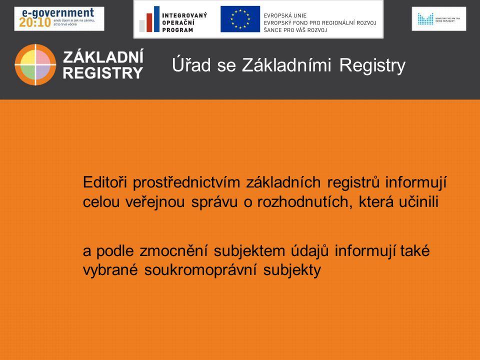 Úřad se Základními Registry Editoři prostřednictvím základních registrů informují celou veřejnou správu o rozhodnutích, která učinili a podle zmocnění