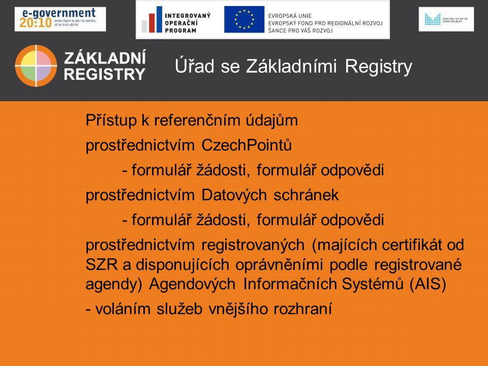 Úřad se Základními Registry Přístup k informačním údajům prostřednictvím agendových Informačních Systémů které pracují s informačními zdroji Základních Registrů v rozsahu oprávnění daných při registraci agendy