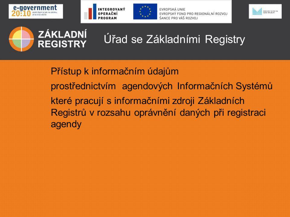 Úřad se Základními Registry Přístup k informačním údajům prostřednictvím agendových Informačních Systémů které pracují s informačními zdroji Základníc