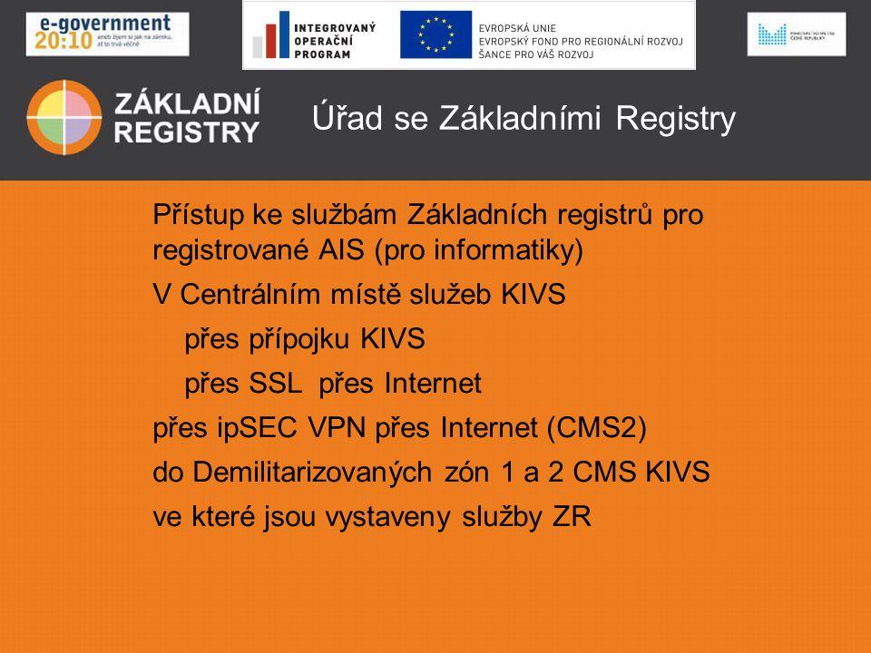 Úřad se Základními Registry AIS musí mít certifikát vydaný SZR AISy připojené v rámci VPN KIVS mají přístup na společnou službu v DMZ2 KIVS AISy připojené přes internet musí mít navíc registrovanou pevnou IP adresu pro přístup do DMZ1 KIVS