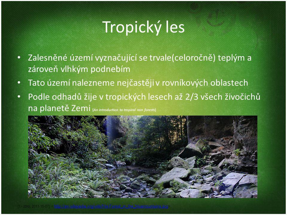 Tropický les Zalesněné území vyznačující se trvale(celoročně) teplým a zároveň vlhkým podnebím Tato území nalezneme nejčastěji v rovníkových oblastech