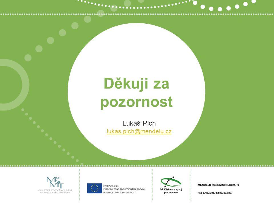 Děkuji za pozornost Lukáš Plch lukas.plch@mendelu.cz
