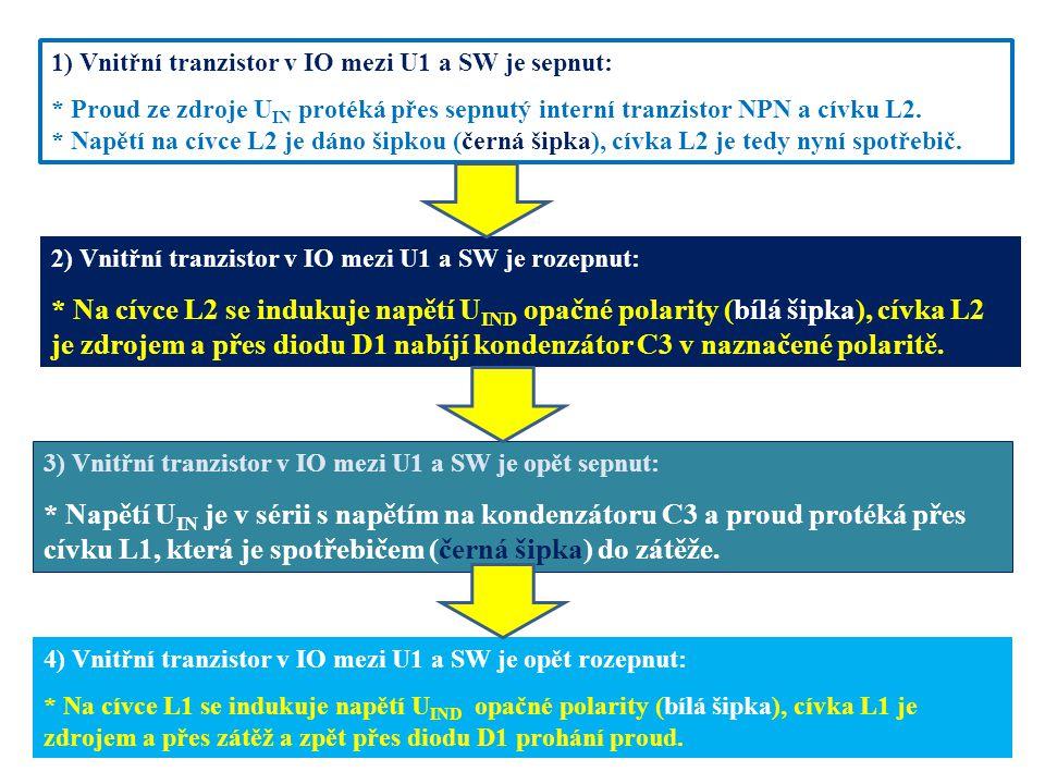 1) Vnitřní tranzistor v IO mezi U1 a SW je sepnut: * Proud ze zdroje U IN protéká přes sepnutý interní tranzistor NPN a cívku L2. * Napětí na cívce L2