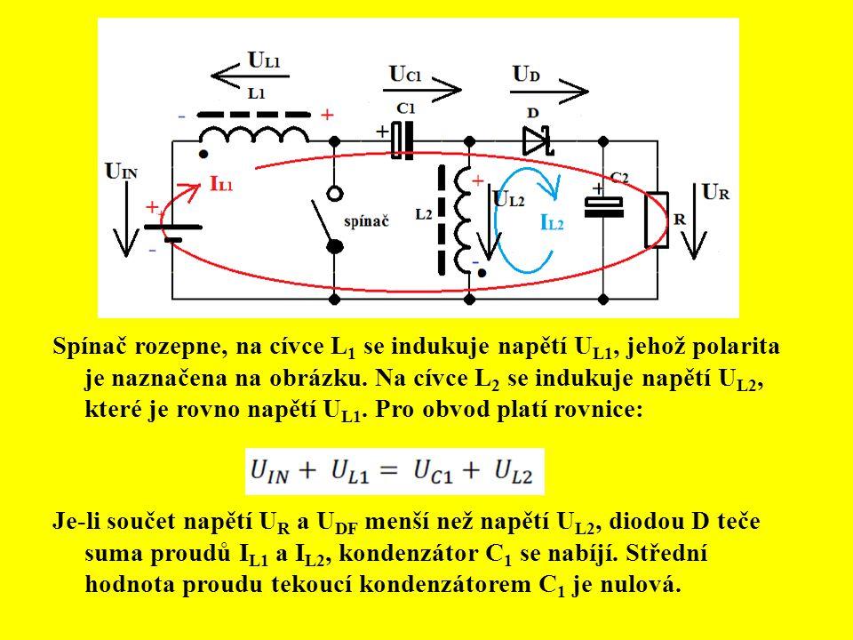 Spínač rozepne, na cívce L 1 se indukuje napětí U L1, jehož polarita je naznačena na obrázku. Na cívce L 2 se indukuje napětí U L2, které je rovno nap