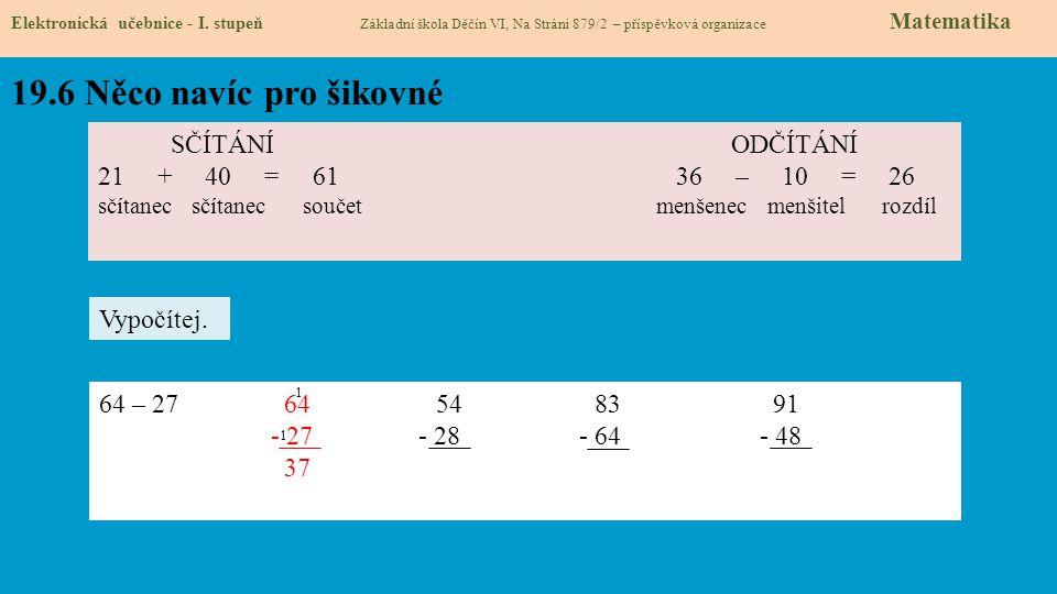 19.6 Něco navíc pro šikovné Elektronická učebnice - I. stupeň Základní škola Děčín VI, Na Stráni 879/2 – příspěvková organizace Matematika SČÍTÁNÍ ODČ