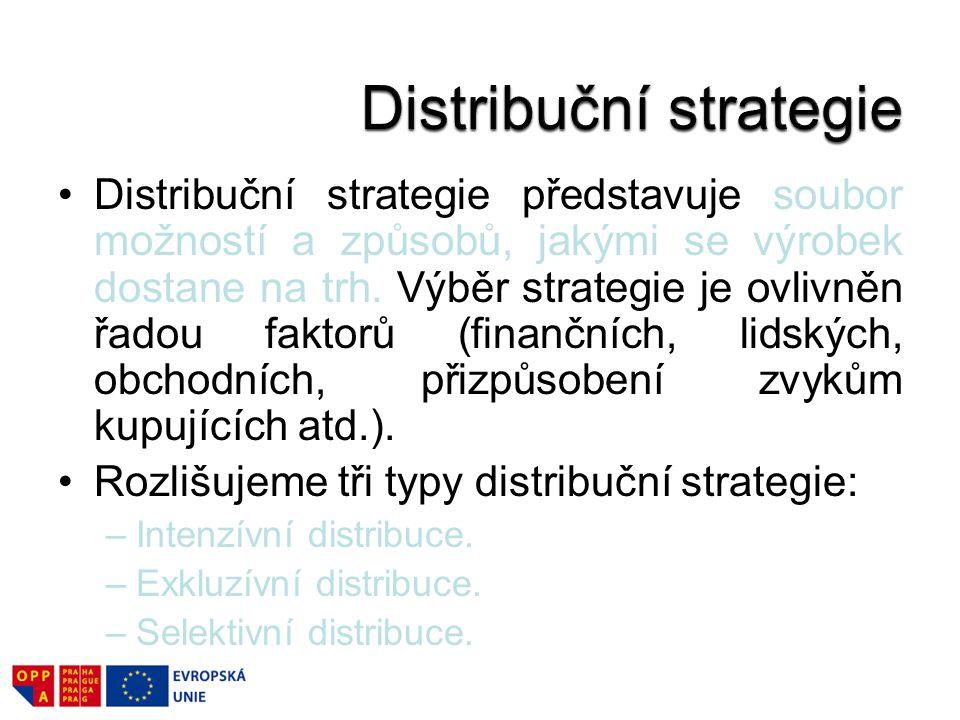 Distribuční strategie představuje soubor možností a způsobů, jakými se výrobek dostane na trh. Výběr strategie je ovlivněn řadou faktorů (finančních,