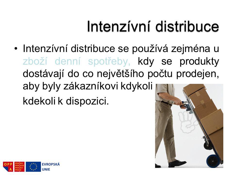 Intenzívní distribuce se používá zejména u zboží denní spotřeby, kdy se produkty dostávají do co největšího počtu prodejen, aby byly zákazníkovi kdyko
