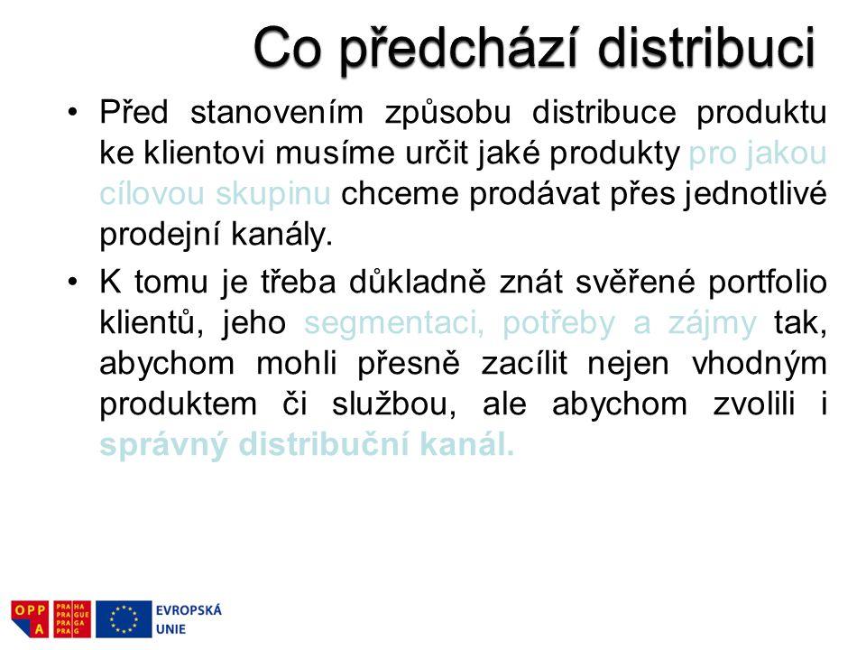 Před stanovením způsobu distribuce produktu ke klientovi musíme určit jaké produkty pro jakou cílovou skupinu chceme prodávat přes jednotlivé prodejní