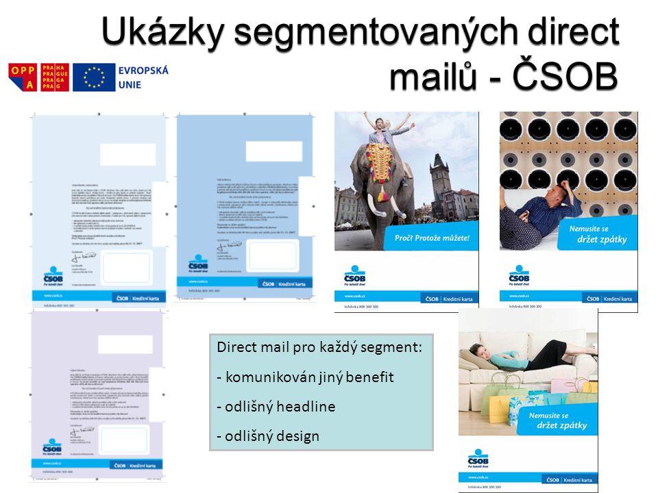 Direct mail pro každý segment: - komunikován jiný benefit - odlišný headline - odlišný design