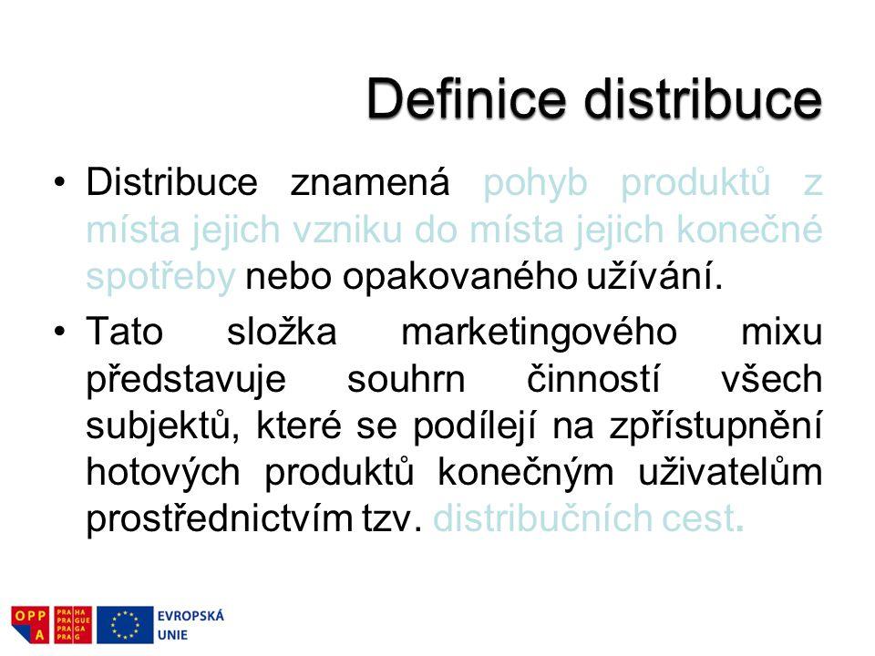 Distribuce znamená pohyb produktů z místa jejich vzniku do místa jejich konečné spotřeby nebo opakovaného užívání. Tato složka marketingového mixu pře