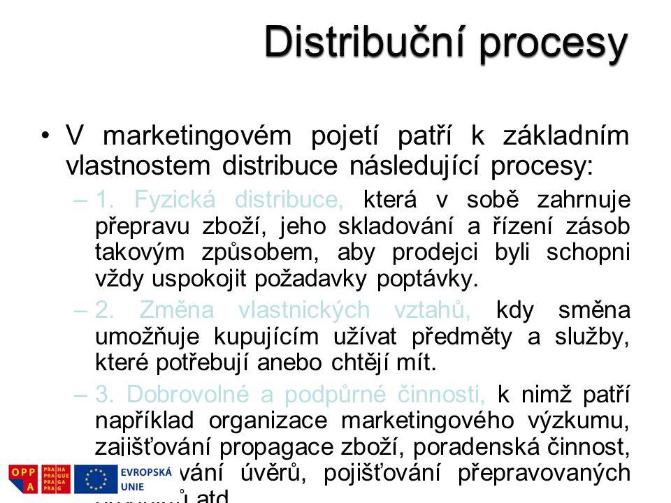 V marketingovém pojetí patří k základním vlastnostem distribuce následující procesy: –1. Fyzická distribuce, která v sobě zahrnuje přepravu zboží, jeh