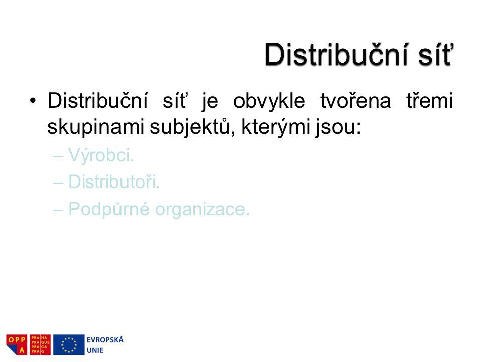 Distribuční síť je obvykle tvořena třemi skupinami subjektů, kterými jsou: –Výrobci. –Distributoři. –Podpůrné organizace.
