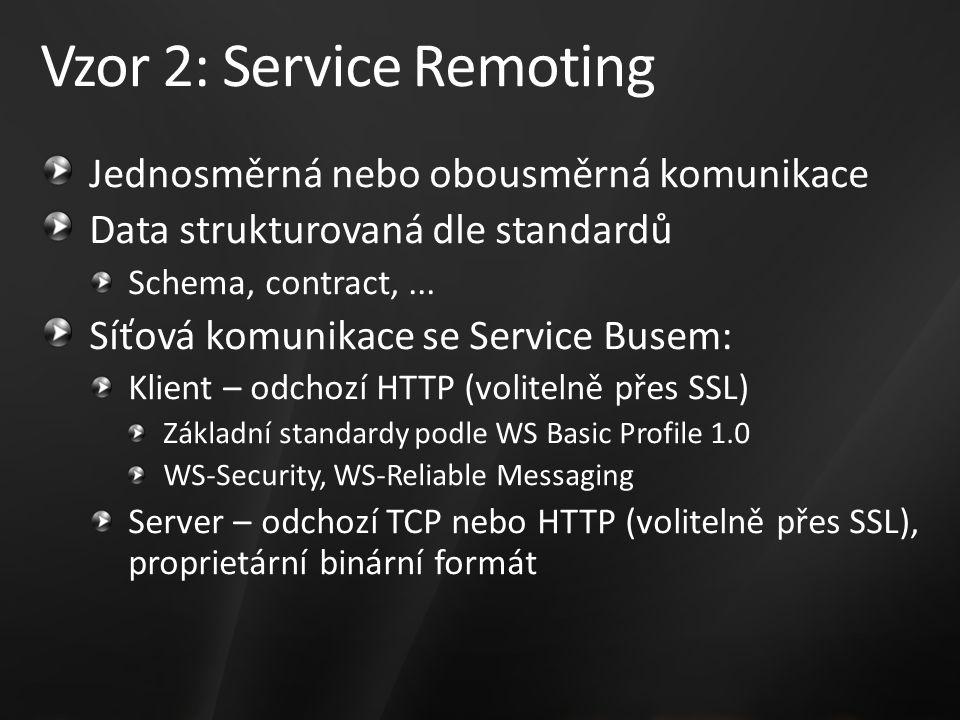Vzor 2: Service Remoting Jednosměrná nebo obousměrná komunikace Data strukturovaná dle standardů Schema, contract,... Síťová komunikace se Service Bus