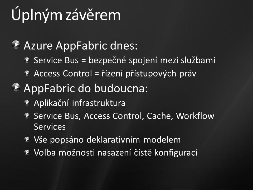 Úplným závěrem Azure AppFabric dnes: Service Bus = bezpečné spojení mezi službami Access Control = řízení přístupových práv AppFabric do budoucna: Aplikační infrastruktura Service Bus, Access Control, Cache, Workflow Services Vše popsáno deklarativním modelem Volba možnosti nasazení čistě konfigurací