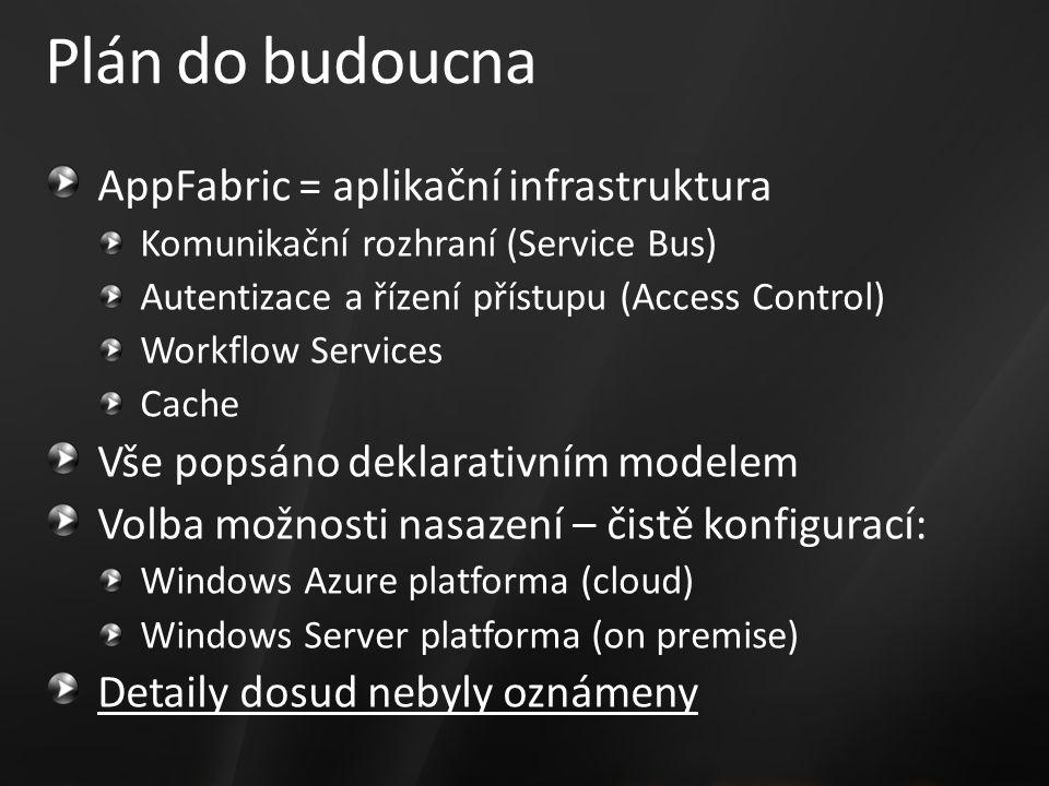 Plán do budoucna AppFabric = aplikační infrastruktura Komunikační rozhraní (Service Bus) Autentizace a řízení přístupu (Access Control) Workflow Services Cache Vše popsáno deklarativním modelem Volba možnosti nasazení – čistě konfigurací: Windows Azure platforma (cloud) Windows Server platforma (on premise) Detaily dosud nebyly oznámeny