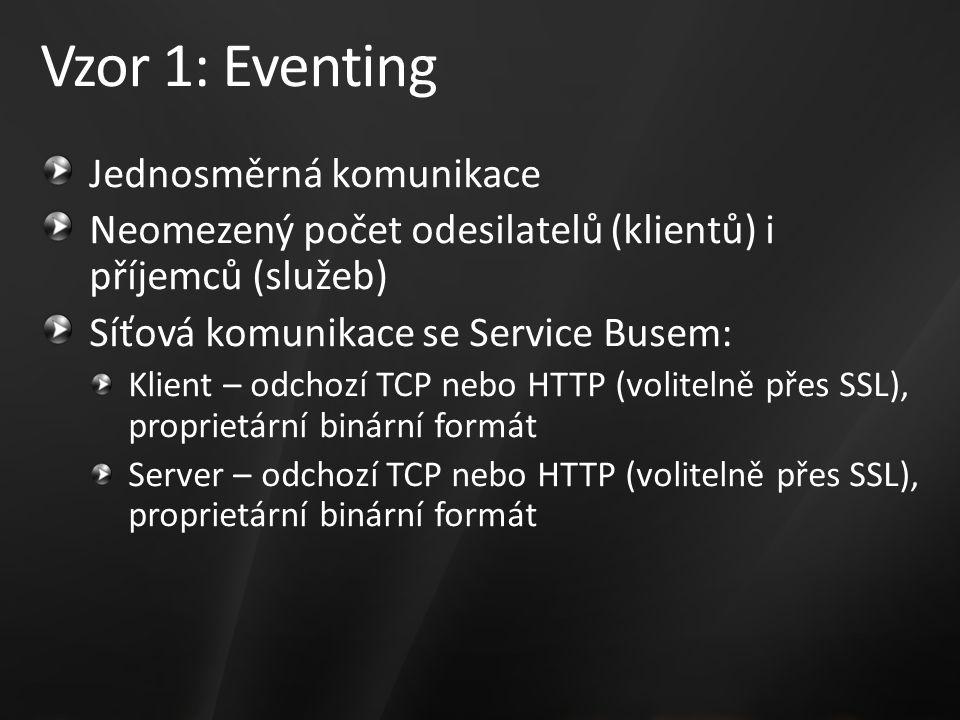 Vzor 1: Eventing Jednosměrná komunikace Neomezený počet odesilatelů (klientů) i příjemců (služeb) Síťová komunikace se Service Busem: Klient – odchozí TCP nebo HTTP (volitelně přes SSL), proprietární binární formát Server – odchozí TCP nebo HTTP (volitelně přes SSL), proprietární binární formát