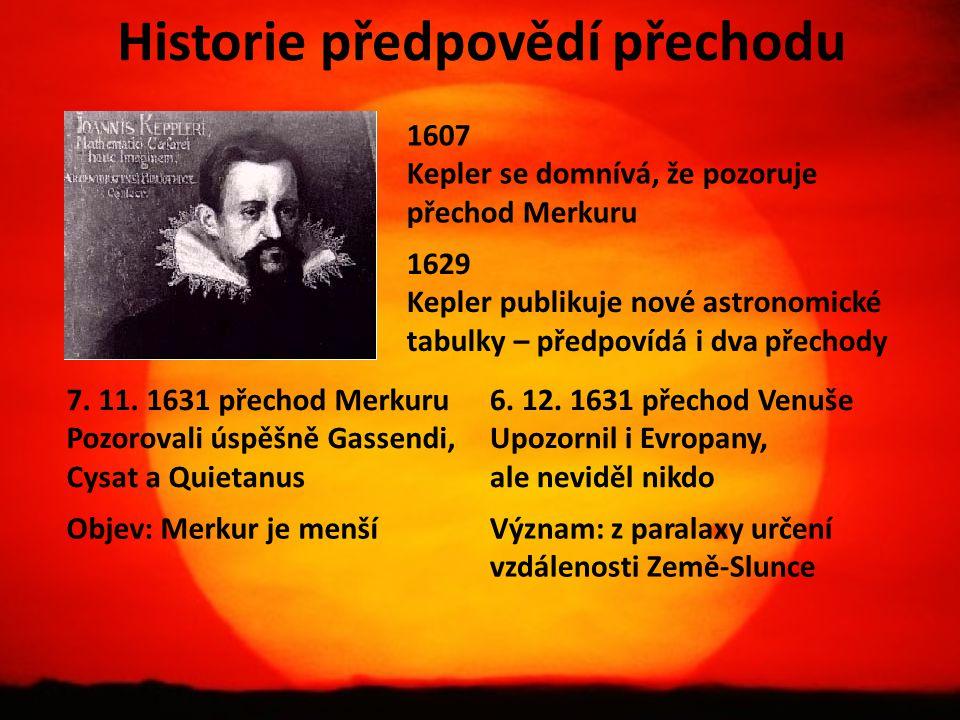 Historie předpovědí přechodu 1607 Kepler se domnívá, že pozoruje přechod Merkuru 1629 Kepler publikuje nové astronomické tabulky – předpovídá i dva př