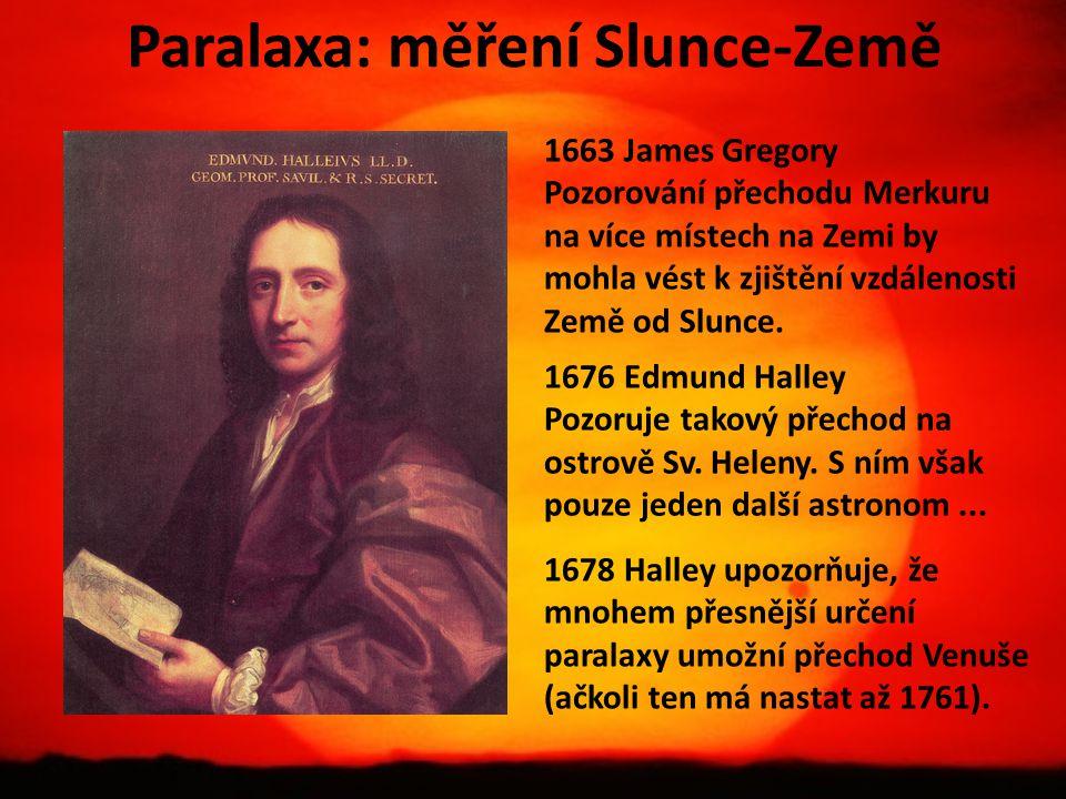 Paralaxa: měření Slunce-Země 1663 James Gregory Pozorování přechodu Merkuru na více místech na Zemi by mohla vést k zjištění vzdálenosti Země od Slunc