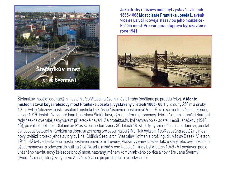 Čechův most je desátým pražským mostem na Vltavě Most byl vystavěn v letech 1905 - 08. Jeho délka je 169 m, šířka 16 m. Je to nejkratší pražský most.
