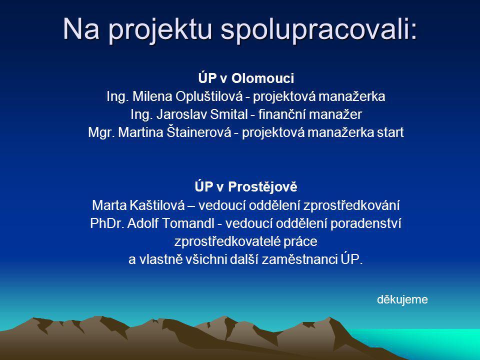 Na projektu spolupracovali: ÚP v Olomouci Ing. Milena Opluštilová - projektová manažerka Ing.