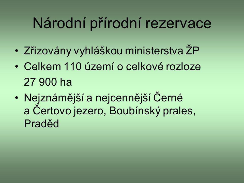Národní přírodní rezervace Zřizovány vyhláškou ministerstva ŽP Celkem 110 území o celkové rozloze 27 900 ha Nejznámější a nejcennější Černé a Čertovo