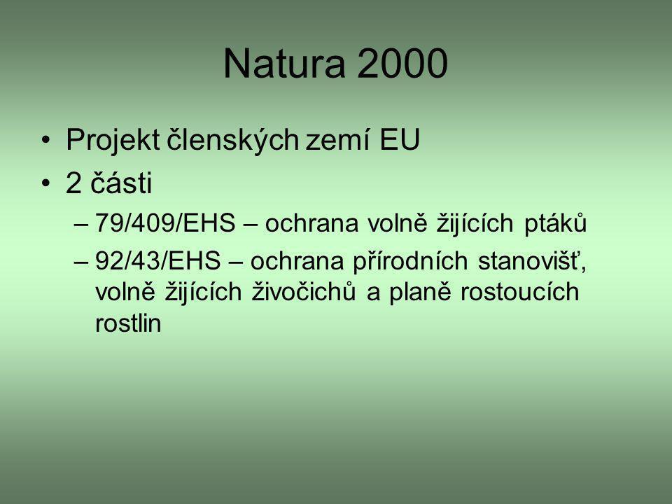 Natura 2000 Projekt členských zemí EU 2 části –79/409/EHS – ochrana volně žijících ptáků –92/43/EHS – ochrana přírodních stanovišť, volně žijících živ