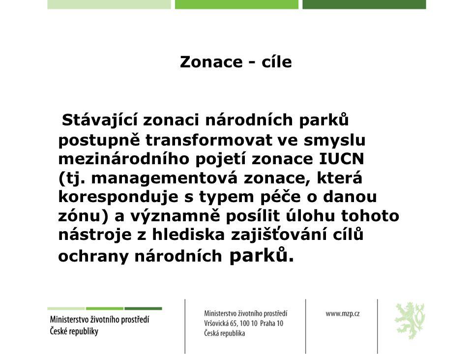 Zonace - cíle Stávající zonaci národních parků postupně transformovat ve smyslu mezinárodního pojetí zonace IUCN (tj.