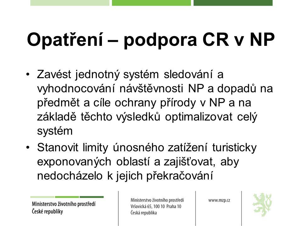 Opatření – podpora CR v NP Zavést jednotný systém sledování a vyhodnocování návštěvnosti NP a dopadů na předmět a cíle ochrany přírody v NP a na základě těchto výsledků optimalizovat celý systém Stanovit limity únosného zatížení turisticky exponovaných oblastí a zajišťovat, aby nedocházelo k jejich překračování